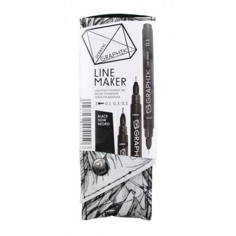 Набор капиллярных ручек Derwent Graphik Line Maker, 3шт черные