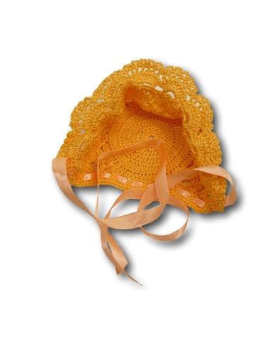 Капор ажурный - Оранжевый. Одежда для кукол, пупсов и мягких игрушек.