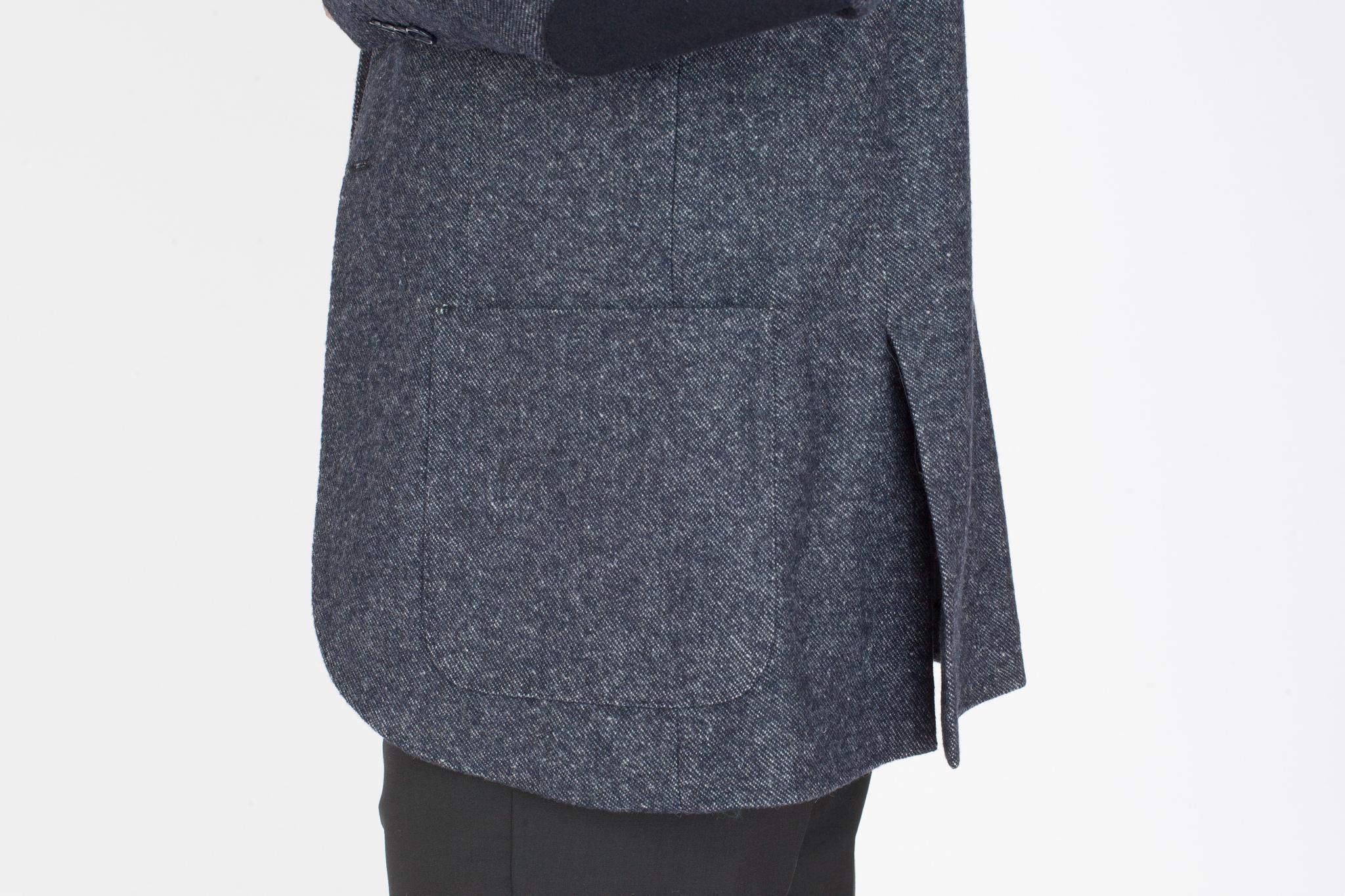 Сине-серый пиджак «в рубчик» из шерсти и хлопка, накладной карман