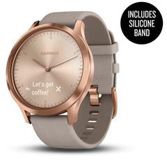Умные часы Garmin Vívomove HR Premium розовое золото с бежевым кожаным ремешком 010-01850-09