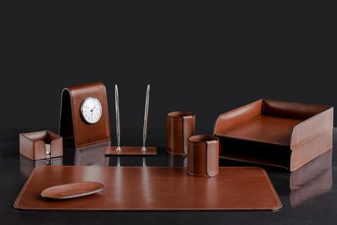 Набор настольный 9 предметов кожа Lux Full Grain Toscana, Dk.Таn