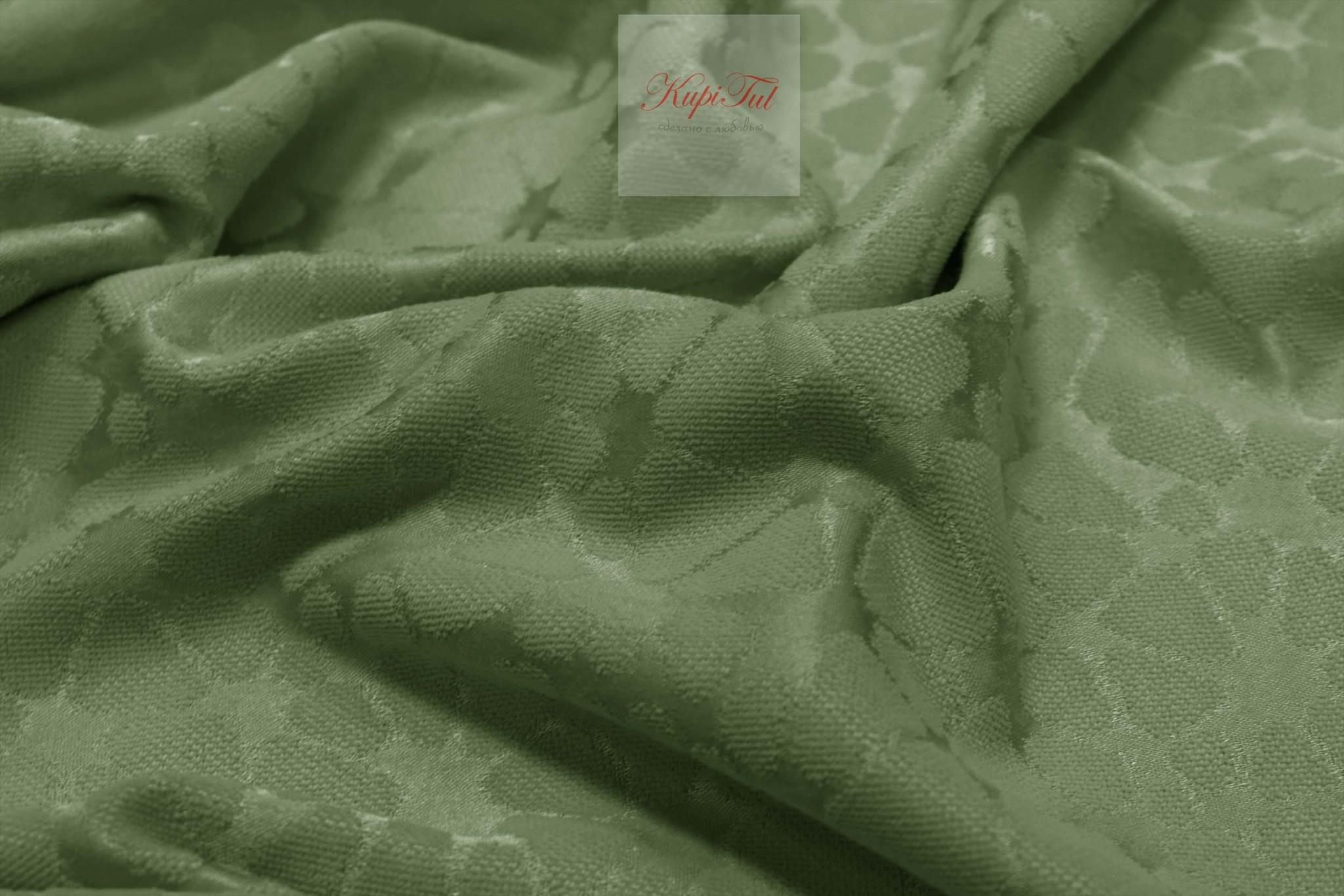Лоран (темно-зелёный). Шторы из стриженного бархата.