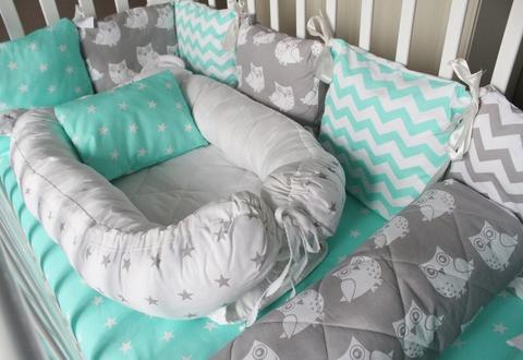 Комплект в кроватку - Совы, на 3 стороны кроватки