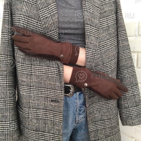 Женские перчатки Touch для сенсорных экранов на указательном пальце Кофейные Классика