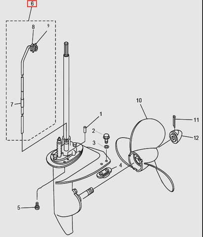 Трубка водяная в сборе для лодочного мотора T9.8 Sea-PRO (14-6)