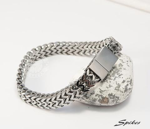 SSBM-0692 Широкий мужской браслет из стали оригинального плетения, &#34Spikes&#34 (21 см)