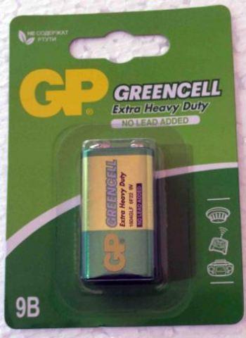 Элемент питания GP 6F22 Greencell BL-1/10