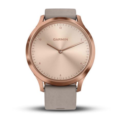 ddf3994130f2 Умные часы Garmin Vívomove HR Premium розовое золото с бежевым кожаным  ремешком 010-01850-09- купить по цене 159000.0 в интернет магазине Watch  Shop