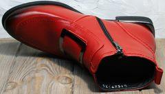 Ботинки женские осень без каблука без шнурков Evromoda 1481547 S.A.-Red