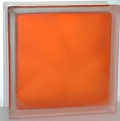 Стеклоблок полуматовый Оранжевый (матовый с одной стороны) Vitrablok  19x19x8