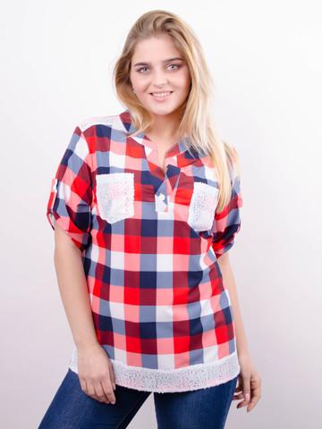 Мирей. Модная рубашка плюс сайз. Красный.