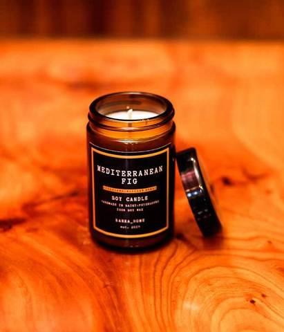 Свеча ароматическая в темном стекле Средиземноморский инжир, Banka home