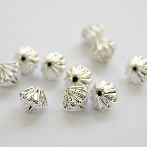 """Бусина металлическая - биконус """"Гофрированный"""" 9х7,5 мм (цвет - серебро), 10 штук"""