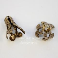 Винтажный декоративный элемент - шапочка - конус 14х9 мм (оксид латуни)