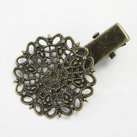 Основа для заколки с филигранью 25 мм, 40х25 мм (цвет - античная бронза)