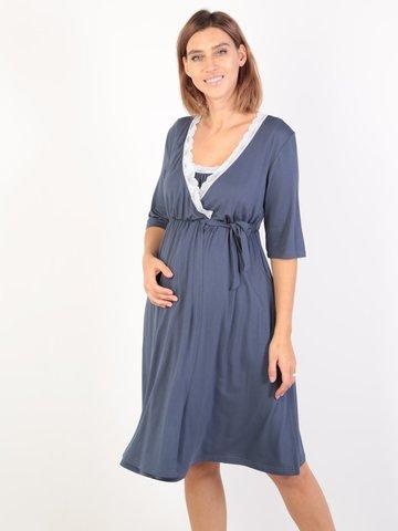 Евромама. Комплект для беременных и кормящих с коротким рукавом и кружевом вискоза большие размеры, джинс