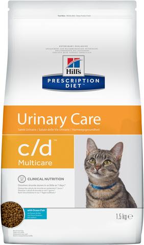 купить хиллс  диетический Hill's™ Prescription Diet™ Feline c/d™ Multicare Urinary Care with Ocean Fish сухой корм для взрослых кошек с океанической рыбой, профилактика МКБ 1.5 кг