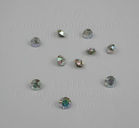 Стразы ювелирные (цвет - прозрачный c AB - покрытием) 4 мм, 10 шт ()