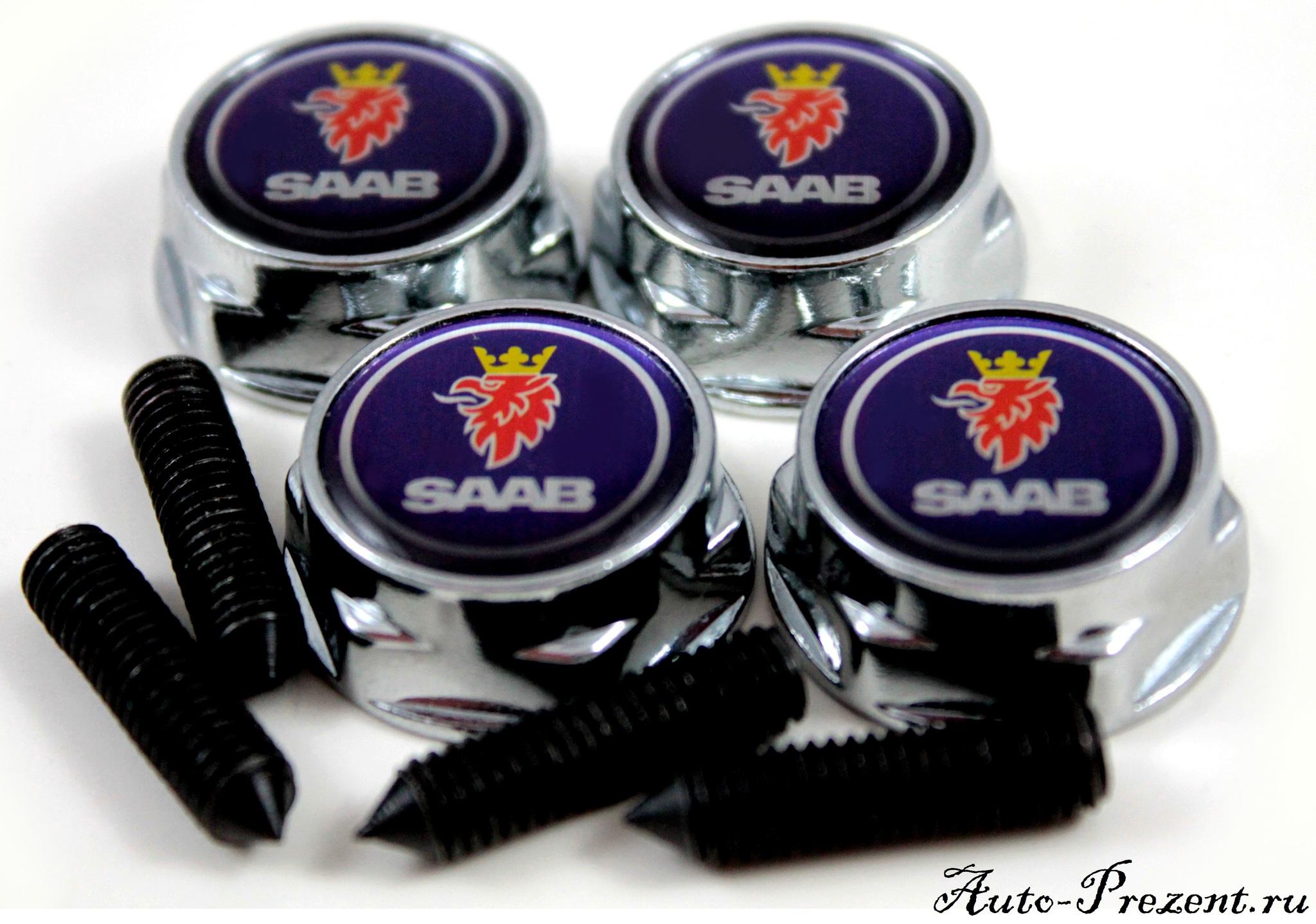 Болты для крепления госномера с логотипом SAAB