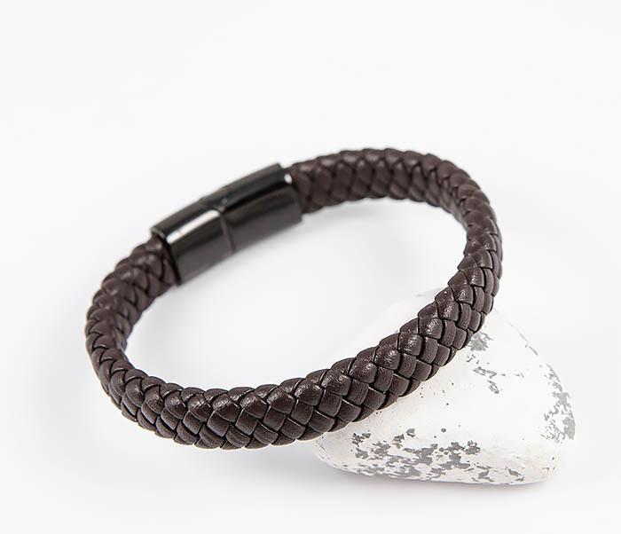 BM532-2 Мужской коричневый браслет из плетеной кожи