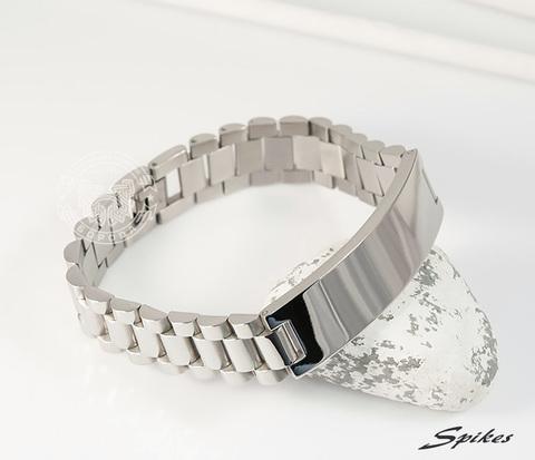 Мужcкой браслет из ювелирной стали с пластиной, «Spikes» (21 см)