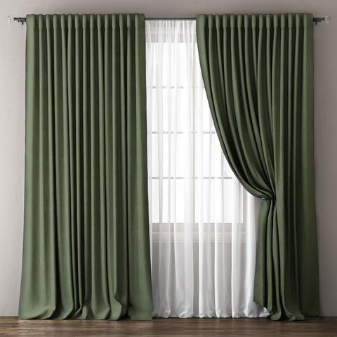 Комплект штор и тюль димаут Олмина зеленый