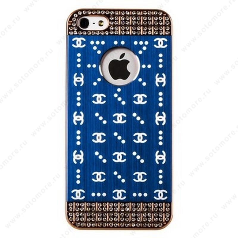 Накладка CHANEL металлическая для iPhone SE/ 5s/ 5C/ 5 золото синяя