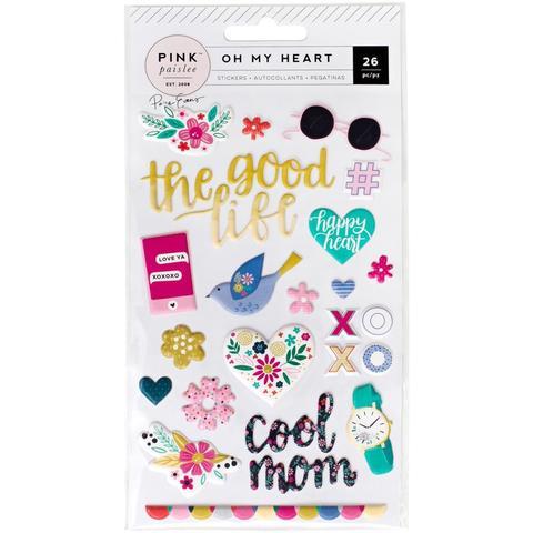 Объемные стикеры Puffy Stickers Icons & Phrases - коллекция Oh My Heart- Pink Paislee - 27 шт.