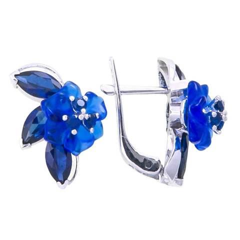 Серьги с цветами из синего кварца и сапфиром Арт.2251сс