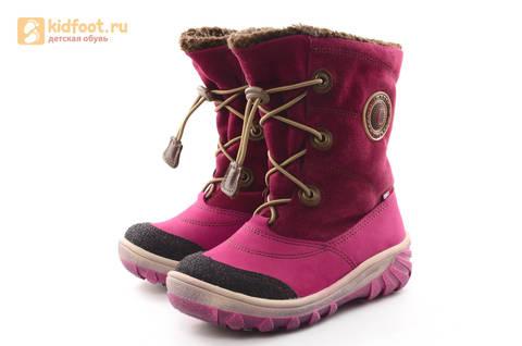 Зимние сапоги для девочек из натуральной кожи на меху Лель, цвет малиновый. Изображение 6 из 16.