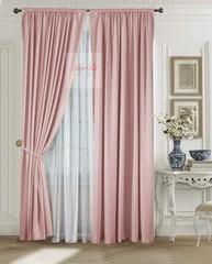 Комплект штор Луи (светло-розовый). Шторы из стриженного бархата.