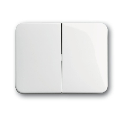 Выключатель двухклавишный. Цвет Белый глянцевый. ABB (АББ). Alpha (Альфа). 1012-0-2108+1751-0-2110