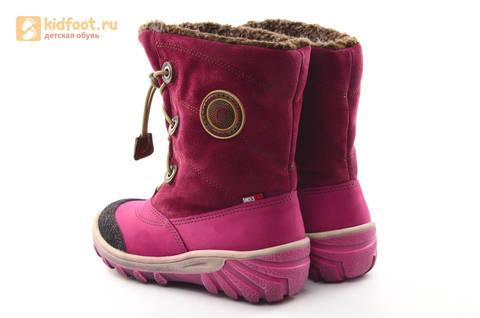 Зимние сапоги для девочек из натуральной кожи на меху Лель, цвет малиновый. Изображение 7 из 16.