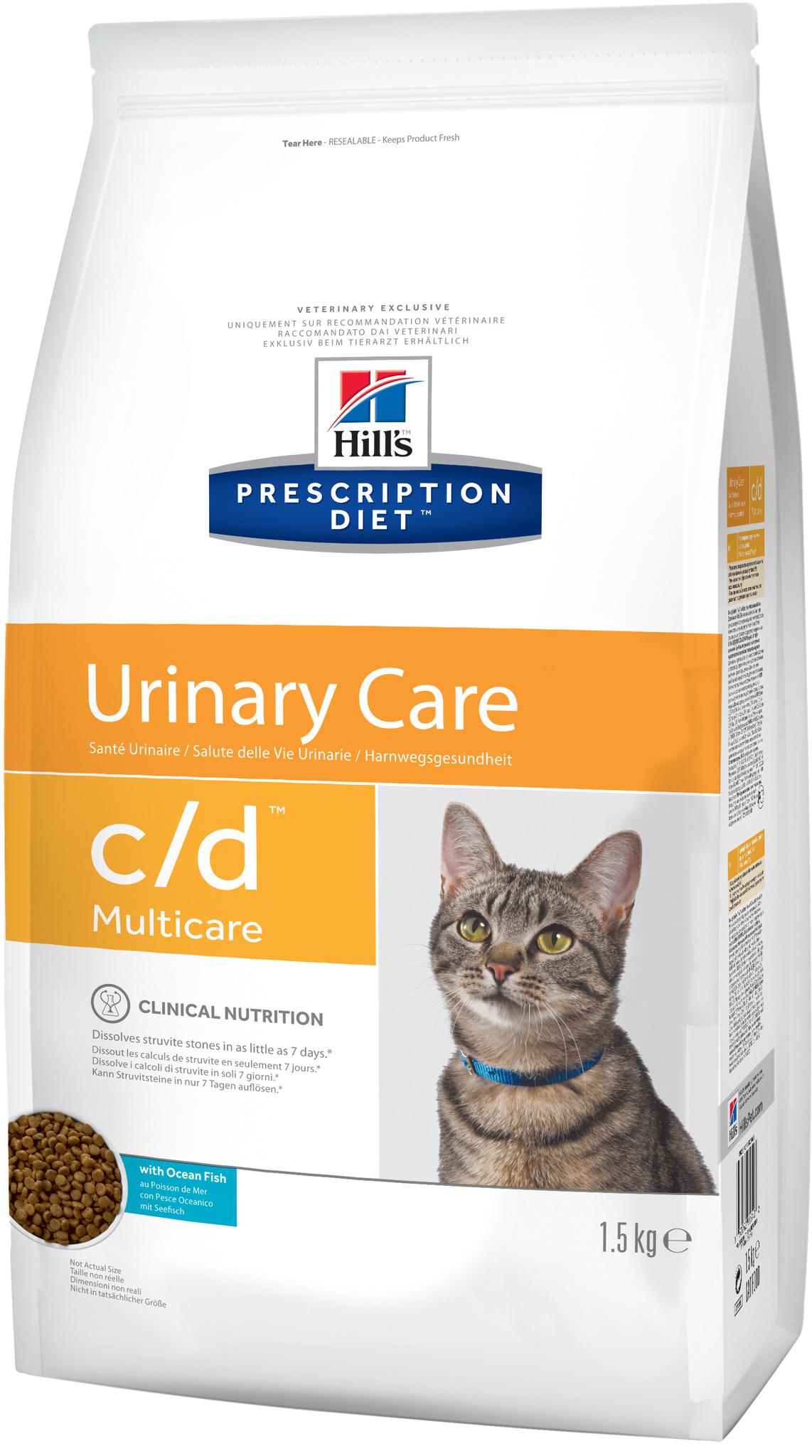 купить хиллс  диетический Hill's™ Prescription Diet™ Feline c/d™ Multicare Urinary Care with Ocean Fish сухой корм для взрослых кошек с океанической рыбой, профилактика МКБ 1,5 кг