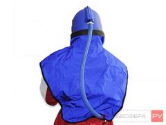 Шлем пескоструйщика Вектор вид шланга подачи воздуха и пелерины