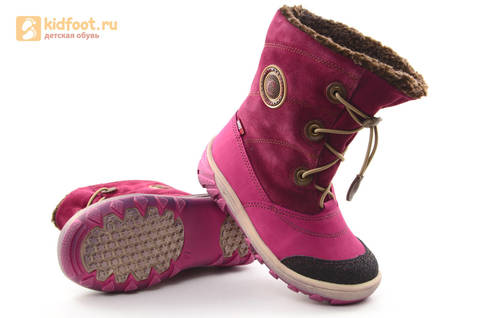Зимние сапоги для девочек из натуральной кожи на меху Лель, цвет малиновый. Изображение 9 из 16.