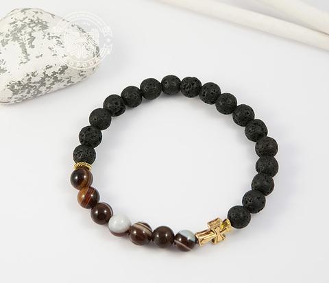 BS682-1 Мужской браслет из камней, лава и полосатый агат, ручная работа,
