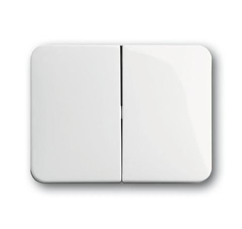 Выключатель/переключатель двухклавишный на 2 направления(проходной). Цвет Белый глянцевый. ABB (АББ). Alpha (Альфа). 1011-0-0928+1751-0-2110
