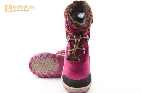 Зимние сапоги для девочек из натуральной кожи на меху Лель, цвет малиновый. Изображение 10 из 16.