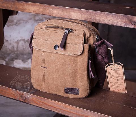 BAG406-2 Тканевая мужская сумка с ремнем на плечо