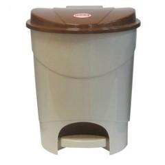 Ведро мусорное с педалью 19л пластиковое, бежевый мрамор