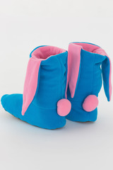 """Тапочки """"Зайчики голубые с розовыми ушками"""""""