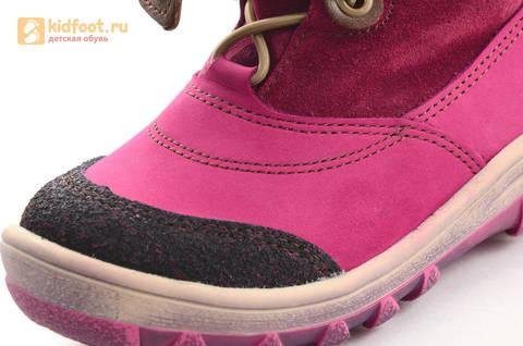 Зимние сапоги для девочек из натуральной кожи на меху Лель, цвет малиновый. Изображение 13 из 16.