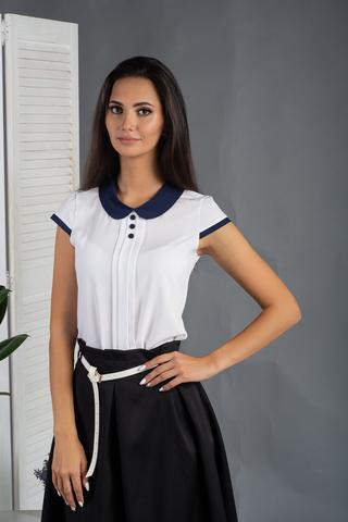 Рита. Блуза с круглым воротником и складочками. Белый с синим