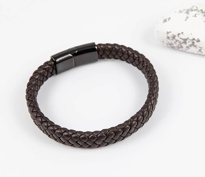 BM532-2 Мужской коричневый браслет из плетеной кожи фото 02