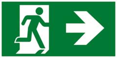 Направление к эвакуационному выходу направо - современный эвакуационный знак