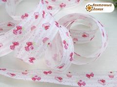 Лента Репсовая кексы с тортиком на розовых полосках 25 мм