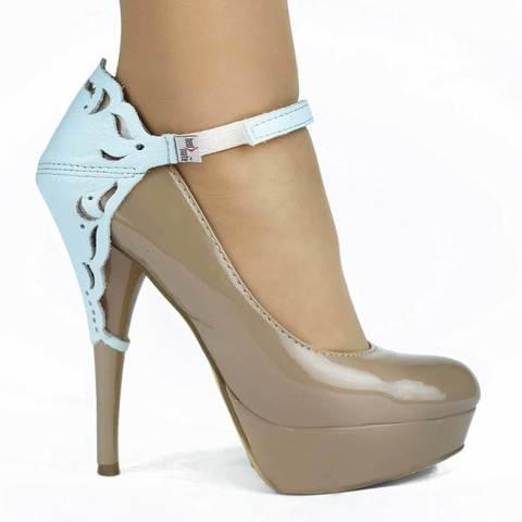 Автопятка для женской обуви на каблуке голубая с узорами