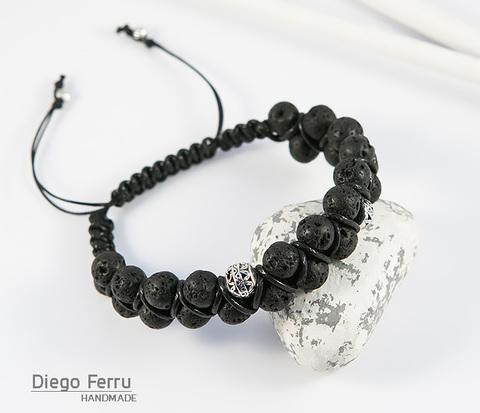 Мужской браслет из вулканической лавы, ручная работа, «Diego Ferru»