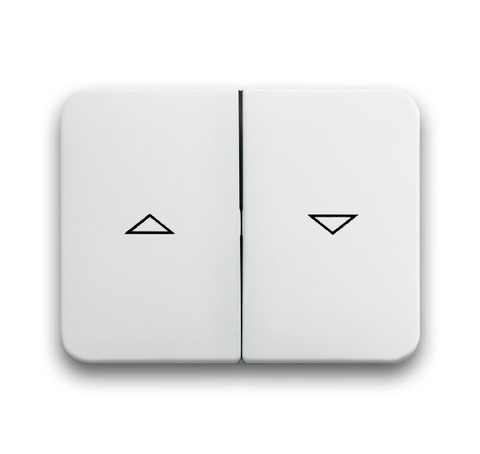 Выключатель двухклавишный управления жалюзи/рольставни без фиксации 10А 250В Цвет Белый глянцевый. ABB (АББ). Alpha (Альфа). 1413-0-1103+1751-0-2128